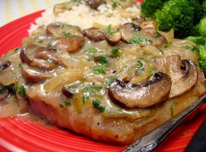 Рецепт отбивные с грибами на сковороде